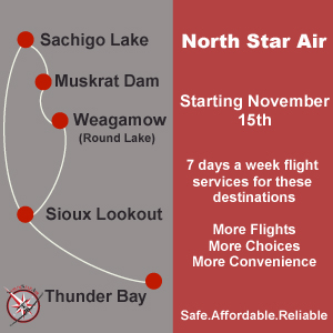 North Star Air 7 Days a week flights Sachigo Lake Muskrat Dam Round Lake