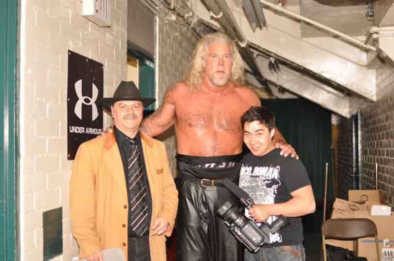 GNW Ring Announcer James Murray, Wrestling Superstar Kevin Nash, and Damien Gilbert