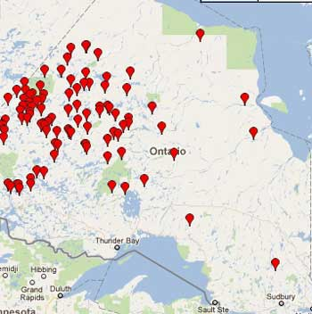Map of active fires in Northern Ontario
