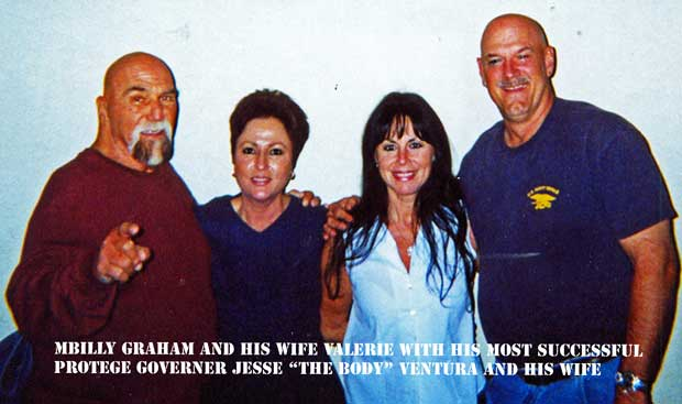 Superstar Billy Graham and his wife with Jesse Ventura and his wife - Photo courtesy of Billy Graham and Devon Nicholson ©all rights reserved.