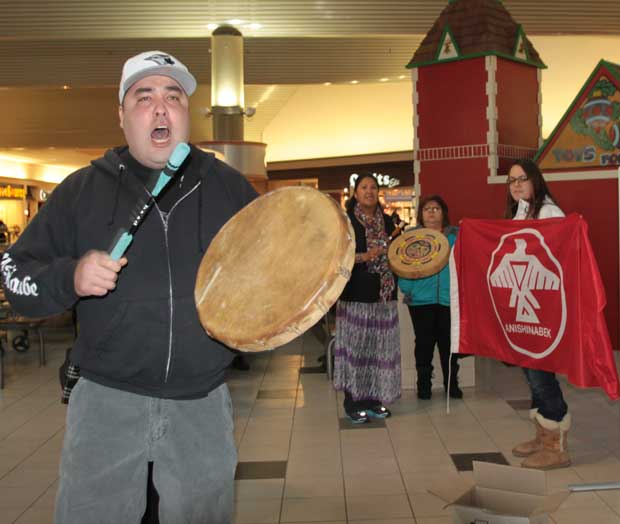 Idle No More - Hand Drumming at Intercity Mall
