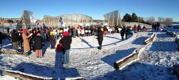Panoramic view of the Spirit Garden taken at the Idle No More Teach in in Thunder Bay on December 21st 2012.