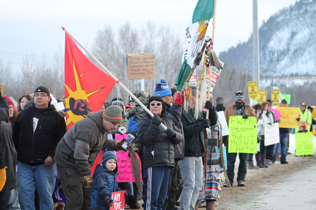 Idle No More- Group on the Road Photo By:Nathan Ogden