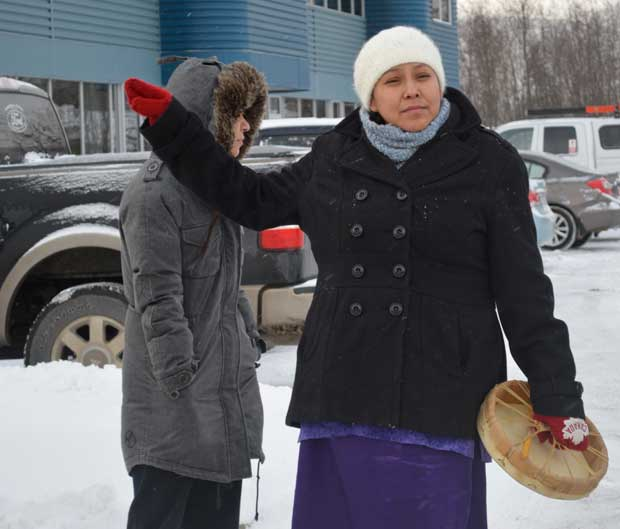 Erin Bottle speaking at Idle No More in Thunder Bay