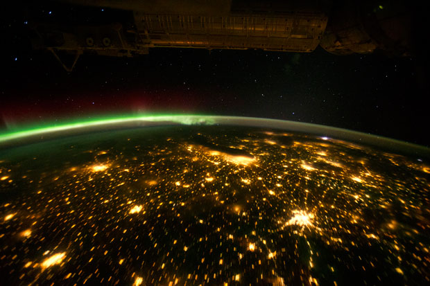 When viewed from the International Space Station (ISS), the night skies are illuminated with light from many sources. For example, the Midwestern United States presents a nighttime appearance not unlike a patchwork quilt when viewed from orbit - image from NASA 2012