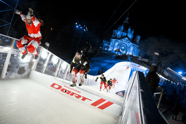 Team Altar Boys flying down the course at Red Bull Crushed Ice in Saint Paul MN