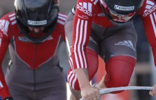 Canadian Bobsledders off to a fast start. Photo Credit Charlie Booker
