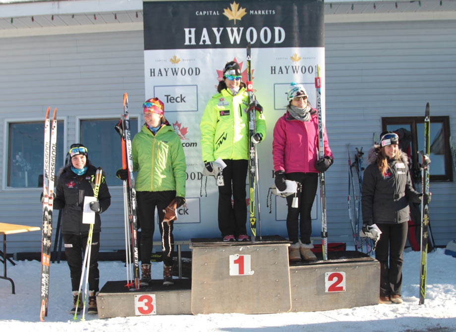 Atop the podium at the Haywood World Trials at the Lappe Nordic Ski Centre