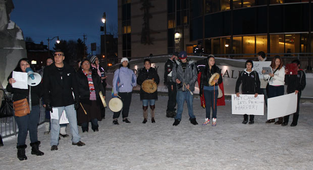 Back at City Hall - Hunter thanks the gathering before they head home -Photo by Quinn Spyrka
