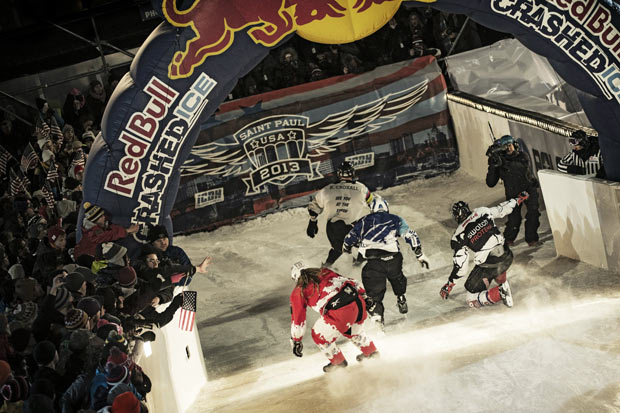 Athletes compete during the Red Bull Crashed Ice, the Ice Cross Downhill World Championship 2013, in Saint Paul, Minnesota, United States on January 26, 2013. Photo by Jörg Mitter