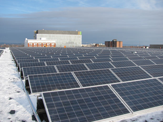 Solar Panels atop the Victoriaville Centre Parkade