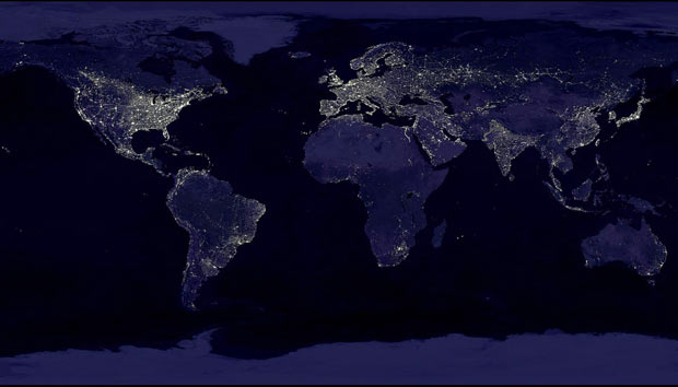 The Earth at Night - large cities have a wide reach impacting climate for thousands of miles