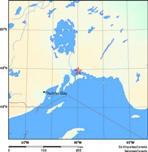 Map of the earthquake location - NRCan Image