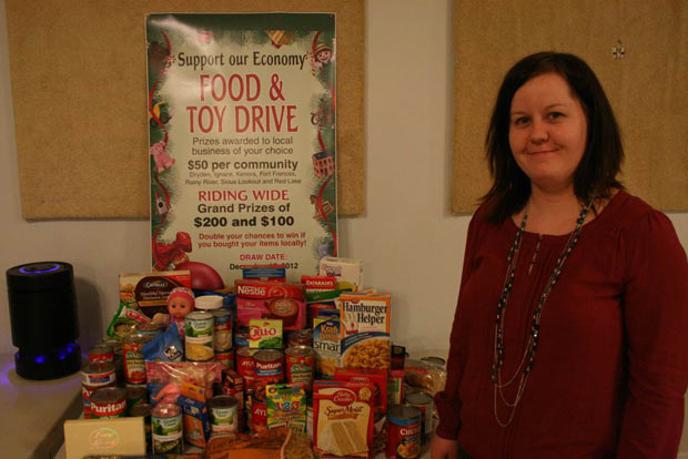 Kenora Rainy River MPP Sarah Campbell with donations made to local food banks.