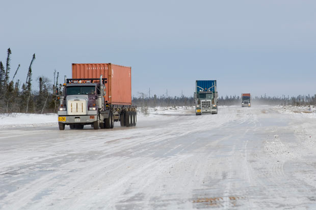 De Beers trucks on the ice road headed into Victor Mine - Image courtesy De Beers