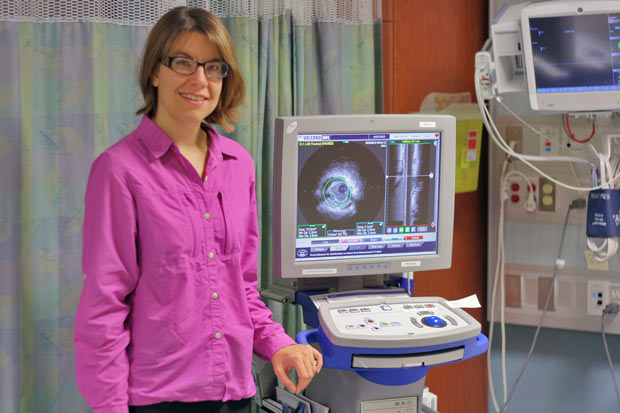"Dr. Andrea MacDougall, one of four interventional cardiologists at the Health Sciences Centre, shows how Intravascular Ultrasound (IVUS) gives a ""close-up view"" of the artery to determine the amount of plaque build-up along the artery walls"