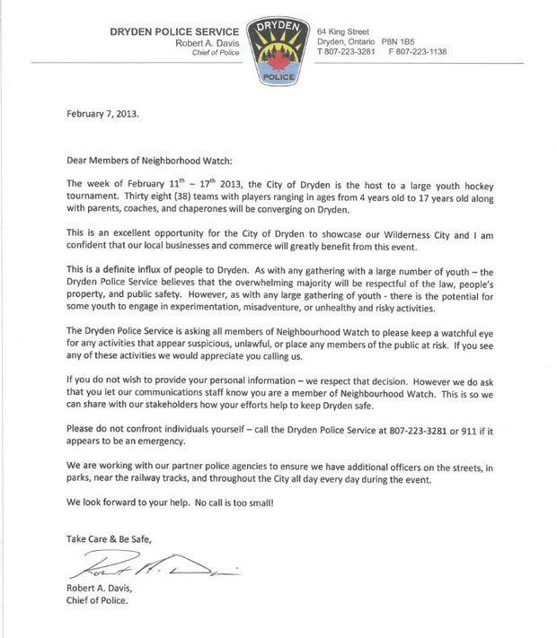 Dryyden Police letter on Hockey Tournament