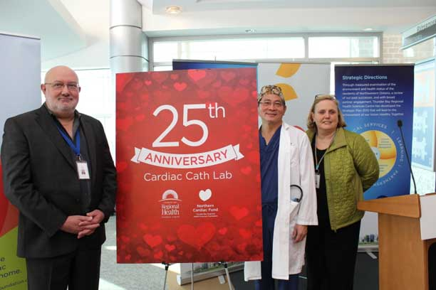 Dr. Mark Henderson, Executive Vice President, Chronic Disease Prevention and Management, TBRHSC, Dr. Chris Lai, Cardiologist, and Andrée Robichaud, President & CEO, TBRHSC
