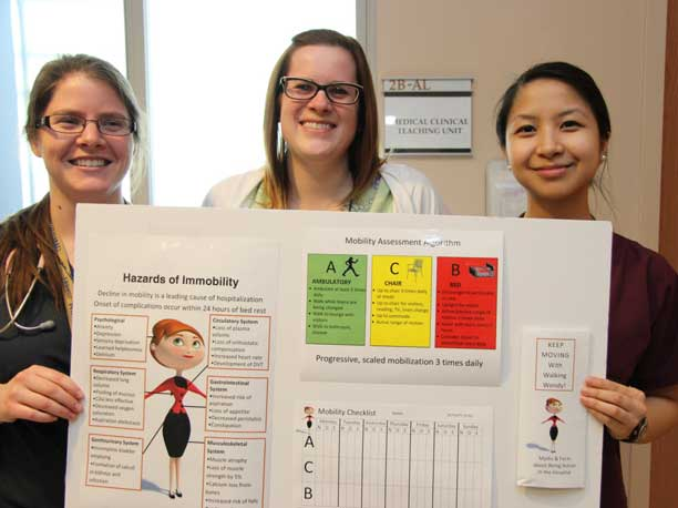 Registered Nurses (from left to right) Nicole Sereda, Melayne Swant and Tram Dao are collaborating with other healthcare team members on the 2B Medical unit in the MOVE ON project to promote mobilization and prevent decline in older hospital patients.