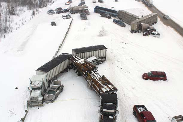 Scene on Queen Elizabeth II Highway on March 21 2013 - Photo by RCMP