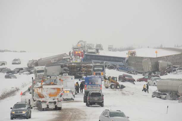 Mass collision during Springtime Storm in Alberta - RCMP Photo