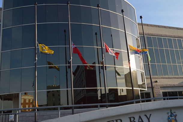 Flags at Thunder Bay City Hall