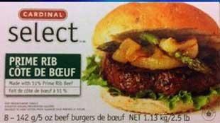 Cardinal Select brand Prime Rib Beef Burgers recalled over E.Coli Threat