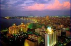 Bright lights of Havana Cuba