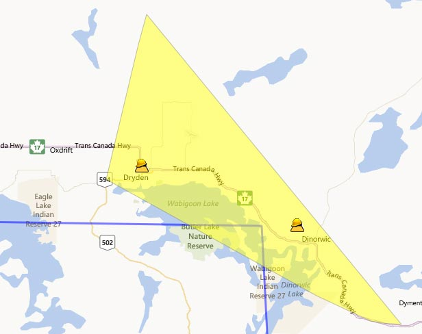 Power is out in the Dryden District