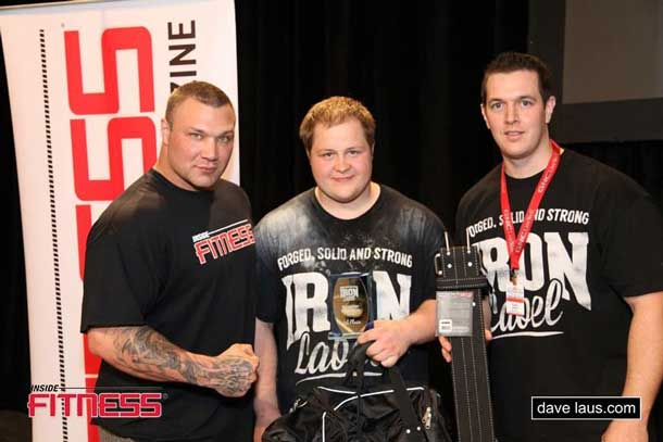 Paul Vaillancourt Ben Thompson and Torey Hunt with prizes and trophy for 1st place