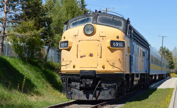 VIA Rail train at Kam River Park near the downtown South Core CBD