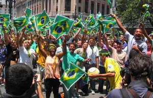 Brazilian soccer fans go wild in the streets following a world cup win