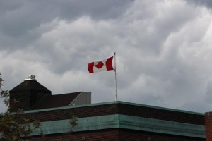 Climate Change Canadian Flag stands strong on Government Building in downtown southcore