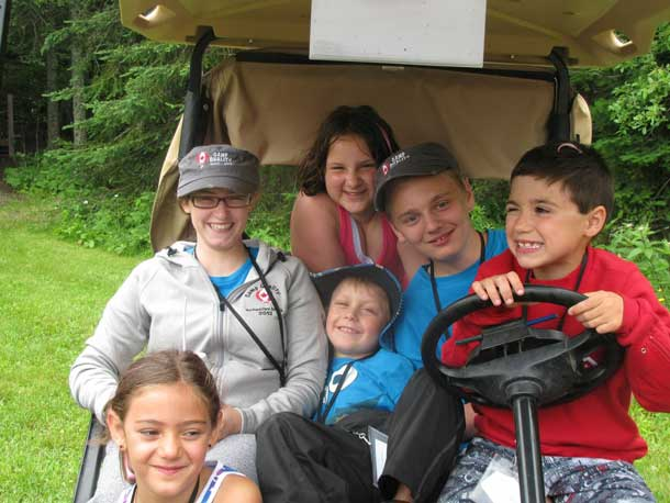 Camp Quality - After the work out there was several who hoped to be given a ride in our film makers' golf cart!