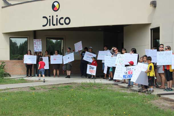 Families rally at the Dilico Child Care offices in 2013
