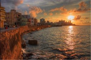 Havana Cuba  Malecon at dusk