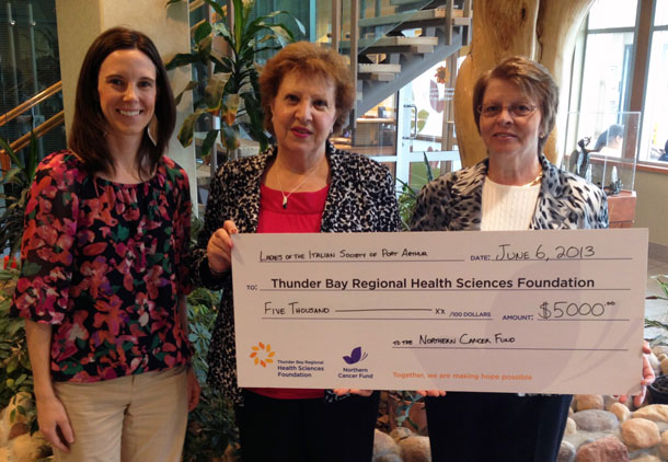 Ladies of the Italian Society of Port Arthur continue their generous tradition of supporting the Northern Cancer Fund with proceeds from their annual Spring Tea, among other donations. Presenting the $5,000 cheque are Lena Gazzola (centre) and Rita Costanzo (right) and accepting on behalf of the Thunder Bay Regional Health Sciences Foundation is Heather Vita (left).
