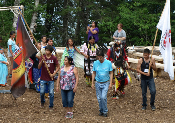 THE SEVENTH ANNUAL WABUN YOUTH GATHERING featured a mini Pow Wow that was developed and performed by Aboriginal youth. Leading the Pow Wow are from L-R: Brent Boissoneau, Mattagami FN: Chief Elenore Hendrix, Matachewan FN; Chief Walter Naveau, Mattagami FN and Travis Swanson, Brunswick House FN.