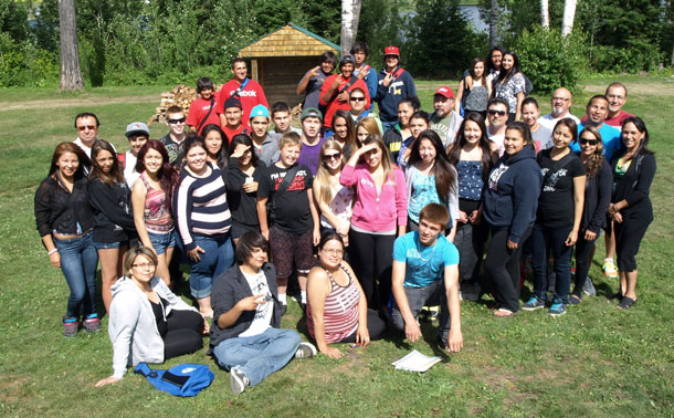 Senior Wabun Youth participants pictured here participated in the suicide prevention workshops at the Wabun Youth Gathering held at the Elk Lake Ecolodge July 15-26