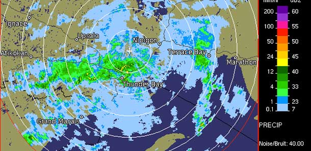 Weather Radar showing Rain