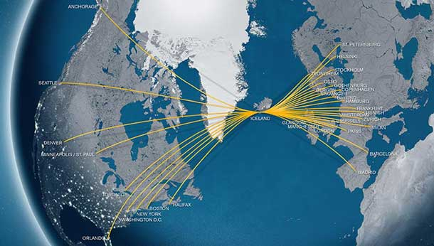 Iceland Air Route Map