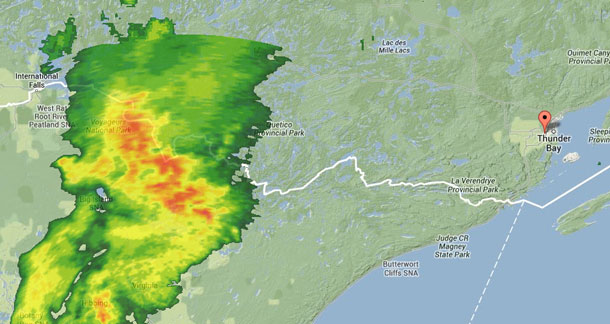 This is the Weather Radar Map at 18:50EDT - Large Storm is west of Thunder Bay