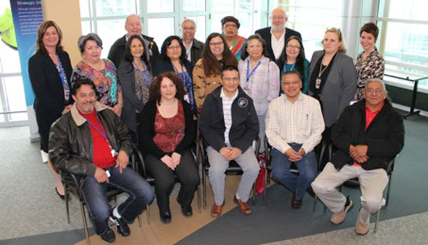 TBRHSC's Aboriginal Advisory Committee members are (back, left to right) Robert Fenton, Abe Kakepetum, Mona Hardy, Dr. Mark Henderson; (middle, left to right) Carmen Blais, Louise Thomas, Jeannie Simon, Susan Anderson, Teresa Trudeau, Brenda Mason, Kanita Johnson, Andrée Robichaud, Tracie Smith; (front, left to right) Ernie May, Sandra Cornell, Jason Beardy, Fred Sky, Sam Achneepineskum. Missing: Daryl Ottertail, Francine Pellerin, Shelley Whitney, Stanley Sainnawap, Susan Fitzpatrick, Tina Armstrong, Rev. Merv Wilson.