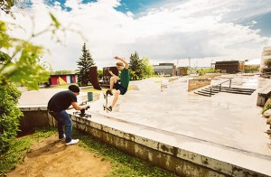 Damien Gilbert filming at the Waterfront Skatepark. Photo by Shannon Lepere