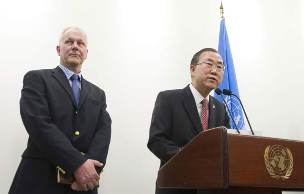 Secretary-General Ban Ki-moon (right) with Ake Sellström, head of the UN technical mission to investigate the possible use of chemical weapons in Syria. UN Photo/Eskinder Debebe (UN file photo)
