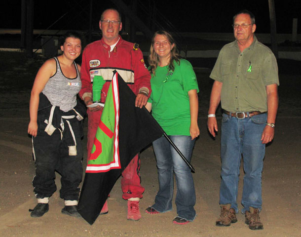 #500 Tylar Wilson won the Street Stock Feature event and the $1,225 bonus winnings from Dimit Bus Lines Ltd. and Ron's Autobody. (Left to right, Libby Wilson, Tylar Wilson, Tasha McNally, Bob Dimit)