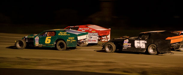 #6 Gary Wilson and #99 Glen Strachan start off the feature  race in the WISSOTA Modifieds on Saturday August 10th