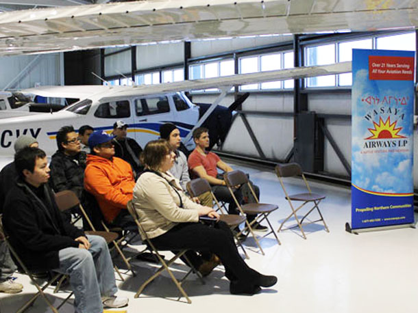New potential pilots and air crew at Wasaya Aviation Camp a partnership with Confederation College