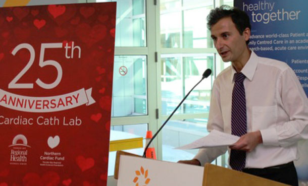 Cardiologist, Dr. Frank Nigro, a driving force behind the development of cardiac care in Northwestern Ontario, helped TBRHSC celebrate 25 years of cardiac catheterization services earlier this year.