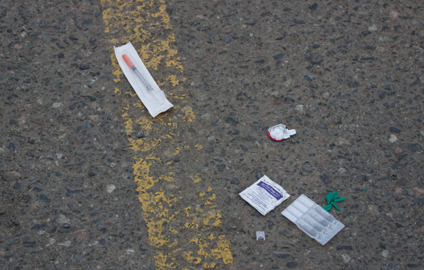 Syringes left in the parking lot send the wrong message to shoppers.